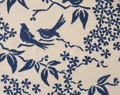 One of my all-time favorite textile patterns from Galbraith and Paul: Birds Silhouette in navy.