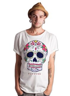 1fd6878191 Baleeblu   Costalamel   Camiseta handmade ilustración calavera mexicana