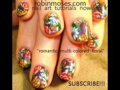 Vintage Flower Nail Art Bouquet - Pink Roses & Blue Daisy Tutorial