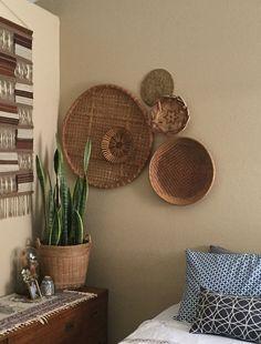 27 Giant Flat Round Shallow Bamboo Rattan Basket Wall Hanging