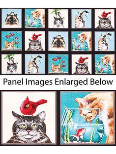 "Curious Cat Black Panel - 24"" x 43"" ~ FABRIC"
