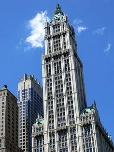 The Woolworth Building, 233 Broadway, New York City. The 60-story building was the tallest in the world from its opening on April 24, 1913, until completion in 1930 of 70-story 40 Wall Street, now known as the Trump Building. April 26, 2013.