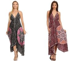 Features delicate batik embroidery, elastic back, adjustable beaded v-neck halter, handkerchief hem, and beautiful colors. Lightweight fabric and comfortable style makes this the perfect summer dress! Go casual with sandals or dress it up with heels! Wear it at parties, the beach, or out on the town.