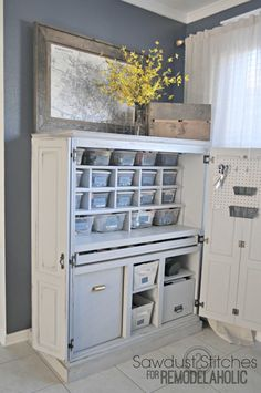 Craft Cabinet Makeover - No room for a craft room in your home? Keep everything organized in a cute little craft cabinet. Craft Storage Cabinets, Craft Cabinet, Craft Room Storage, Craft Organization, Diy Storage, Craft Rooms, Cabinet Ideas, Craft Desk, Desk Cabinet