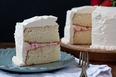 White Cake with Strawberry Filling and Buttercream Frosting