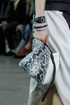 The Krush Handbag In Black And White Python Anaconda On Runway