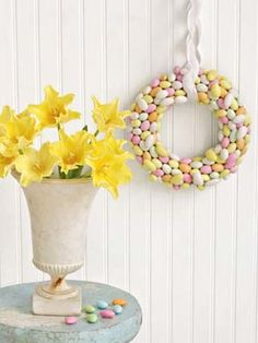 Egg-shaped Jordan almonds make an especially sweet #Easter decoration. #diy #crafts