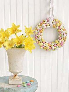 Egg-shaped Jordan almonds make an especially sweet #Easter decoration. #diy #crafts