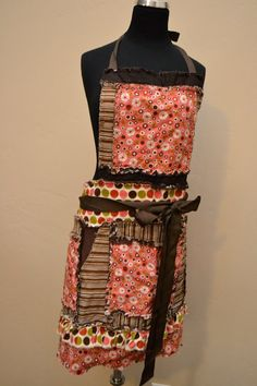 RAG APRON in Pink and Brown Floral and Polka Dots, Full Bib for Women, Made to Order