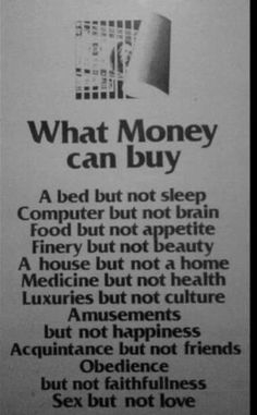 What money can or cannot buy