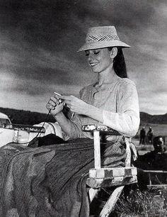 Audrey Hepburn knitting on the set of The Unforgiven