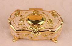 Gold decoration box quality  jewelry box ring box metal  Necklace box Earrings case carrying cases