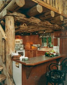 I love the log ceiling!