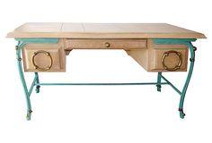 Cerused Oak Desk w/ Brass & Iron Accents
