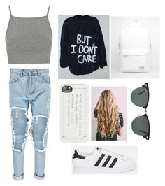 """xxxxxx"" by jaramillorachel ❤ liked on Polyvore featuring adidas Originals, Boohoo, Topshop, Herschel Supply Co., Marc by Marc Jacobs and Ray-Ban"