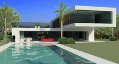 Modern Design Homes for sale in Marbella Club Golf Contemporary House Plans, Modern House Plans, Modern Contemporary, Modern Villa Design, Casas Containers, Modern Architecture House, Sustainable Architecture, Pavilion Architecture, Residential Architecture