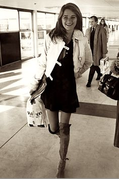 24 year old Charlotte Rampling in London's Heathrow Airport, 1970