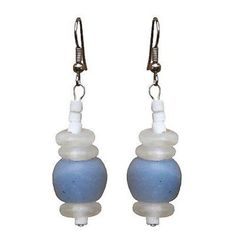 Recycled Blue Glass Abacus Earrings - Global Mamas