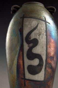 Medium Raku Vase  Green Copper Pottery  Oriental by clayguyry, $95.00