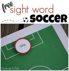 Free Sight Word Soccer. Such a fun sight word game for kids!! {Playdough to Plato}