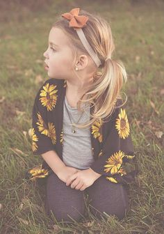 Sunflower Children's Kimono Cardigan // toddler flower Kimono // baby floral Cardi USD) by BusySpinningThread Gilet Kimono, Kimono Cardigan, Kimono Outfit, Little Girl Fashion, Toddler Fashion, Kids Fashion, Lila Baby, My Baby Girl, Maila