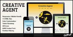 Creative Agent - Responsive Studio Portfolio . Creative Agent is a clean and modern HTML5/CSS3 theme, built on the Twitter Bootstrap framework. It is suitable for small businesses, creative portfolios, or  personal sites. It is fully responsive, scaling to all screen and device sizes. Creative Agent uses jQuery powered filtering options for the