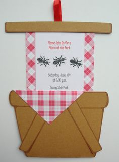 Pack Of Customizable Picnic Basket Invitations With Envelopes