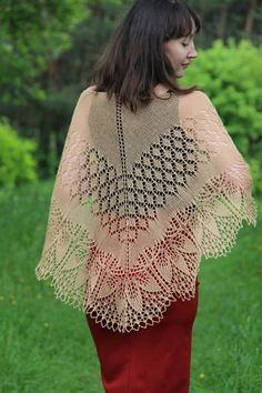 This is a crescent shaped shawl with lace gorgeous border will tenderly wrap your shoulders. Its made of very soft, lace weight, wool yarn of sand color. Size: 180/60 cm (71/23,6) Material: 100% pure wool Make a perfect gift for yourself or for your friend! Your favorite people will