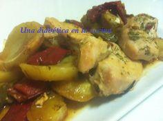 Una diabética en la cocina: Pollo al horno con patatas y pimientos