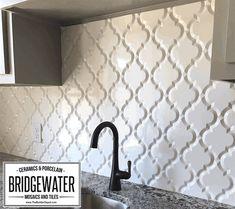 Arabesque Whisper White Matte Finish Beveled Lantern Wall Tile