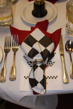 Nascar party place settings! See more party planning ideas at CatchMyParty.com!