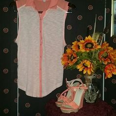 Poof sherbet button up tank New with out tags tank Button up Very beautiful Size large   *SMOKE FREE AND ANIMAL FREE HOME* *ALL OFFERS CONSIDERED* Poof! Tops Button Down Shirts
