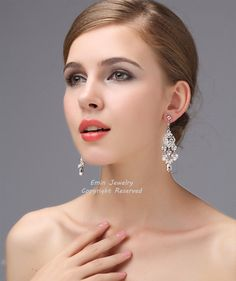 Bridal earrings, Wedding chandelier earrings ,Rhinestone White Pearls Wedding crystals Earrings,Bridal Jewelry, Wedding Jewellery E0022