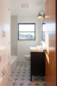 mid century modern farmhouse urban homestead - penny round tiles in tub surround
