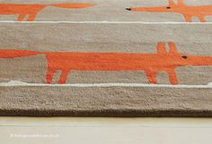 Mr Fox Cinnamon Rug - texture close up (Scion), a trendy fox print contemporary rug in shades of brown, orange & white (100% wool, hand-tufted, 3 sizes) http://www.therugswarehouse.co.uk/modern-rugs3/scion-rugs/mr-fox-cinnamon-rug.html