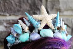 Mermaid crown tutorial (uses dollar store crown as base)