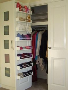 Organization ideas - Add shelving to the back of your closet door for extra storage, 20 Closet Organization Tips & Tricks. und tricks backen 20 Clever Closet Tips & Tricks - The Chic Site Wardrobe Organisation, Wardrobe Storage, Organization Hacks, Organizing Ideas, Organizing Small Closets, Bedroom Organization, Organising, Coat Closet Organization, Underwear Organization