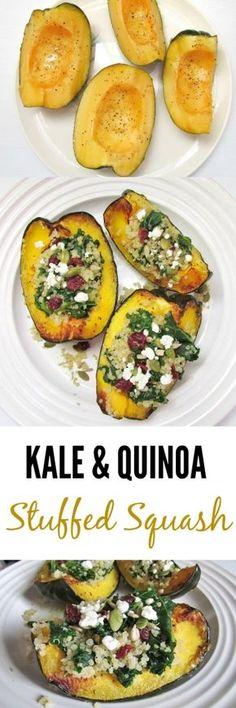 Kale and Quinoa Stuffed Acorn Squash with Cranberries