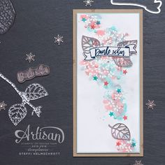 Love the background and the little white blooms are embossed. The watercolour background uses Marina Mist, Bermuda Bay and Flamingo. Fall Cards, Winter Cards, Emotions Cards, Karten Diy, Hand Stamped Cards, Stampin Up Catalog, Stamping Up, Greeting Cards Handmade, Stampin Up Cards