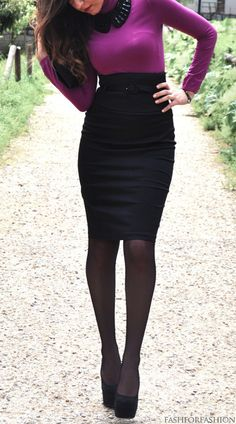 Orchid Purple Sweater with Pete Pant Collar- Black High Waist Pencil Skirt