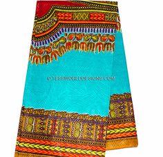Teal/ Red  Dashiki fabric. -t