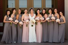 Bridesmaids I grey and pink|Miramont Country Club Wedding via www.weddingcolors.net/stephanie-andrews-miramont-country-club-wedding.html | Photo by: clairemiranda.com