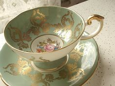 Antique Aynsley china tea cup and saucer, vintage JA Bailey tea cup set, green and gold English tea cup RESERVED 4 dino