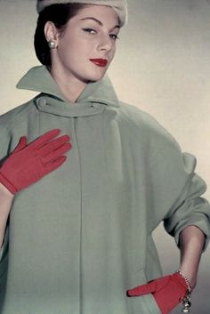 Stylish pale strawberry red and grey-sage winter fashion inspiration from 1952. #vintage #fashion #1950s #coat #gloves #hat