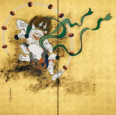Wind God screen (left) (Fujin) from Wind and Thunder Gods pair (Fujin Raijin zu). Sakai Hōitsu (1761-1828). idemitsu museum of art. Japan.