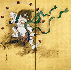 Sakai Hoitsu 風神雷神図屏風(左隻) 酒井抱一筆  所蔵先 出光美術館
