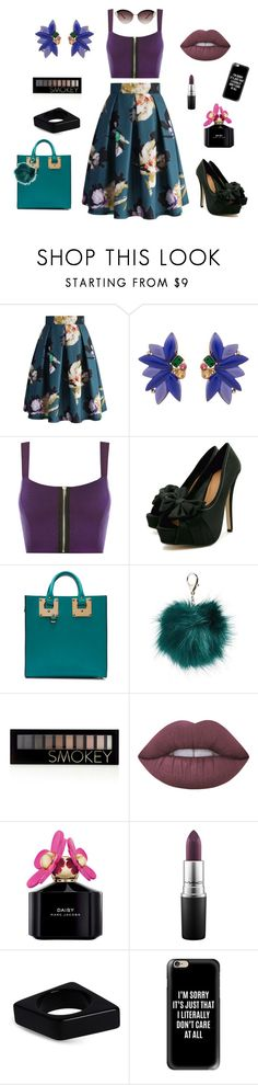 """A Little Funky!"" by jamielojordan ❤ liked on Polyvore featuring Chicwish, Oscar de la Renta, WearAll, Sophie Hulme, Nila Anthony, Forever 21, Lime Crime, Marc Jacobs, MAC Cosmetics and Marni"