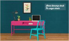 sims 2 palette: ats IKEA linnarp desk & ps saga chair recolors