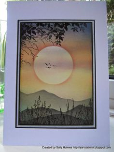 handmade card  by Sally Holmes. Mask. Dust or sponge ink. Stamp. Beautiful!