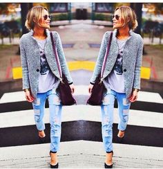 Boyfriend jeans, boyfriend blazer plus heels